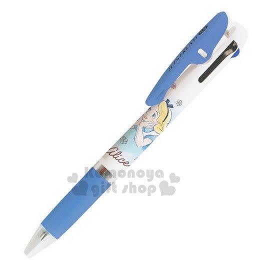 〔小禮堂〕迪士尼 愛麗絲 日製多色原子筆《藍白.撐臉》0.5mm.三色筆.多色筆.Jetstream系列 4991277-09736