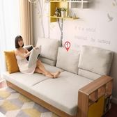 林氏木業簡約坐臥兩用轉角三人座沙發床(附抱枕)1011-米白(不含腳踏)