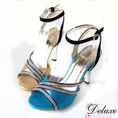 Deluxe-璀燦性感閃亮皮革細排亮鑽繫踝高跟涼鞋-二色