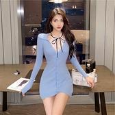 長袖裙裝 韓版針織開衫V領心機性感露胸修身顯瘦包臀連衣裙女 風馳