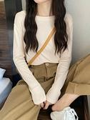 圓領長袖打底衫女秋冬內搭外穿白色t恤2021年新款修身顯瘦上衣潮寶貝計畫