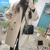 【V2699】shiny藍格子-百搭保暖.修身顯瘦毛呢中長款大衣外套