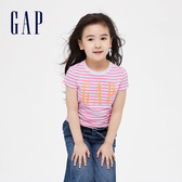 Gap女童 Logo時尚舒適條紋短袖T恤 592539-粉色條紋