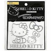 小禮堂 Hello Kitty 造型汽車裝飾貼 金屬車貼 反光貼紙 壁貼 (銀 側坐) 4905339-86647