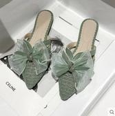 網紅涼拖女2020夏季新款韓版水鉆包頭蝴蝶結拖鞋時尚外穿女穆勒鞋 雙11 伊蘿