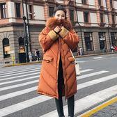 工廠批發價不退換1641#2018實拍冬季新款大毛領中長款面包服韓版過膝學生外套(F1011)