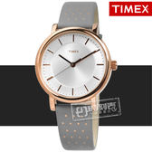 TIMEX 天美時 / TXTW2R27400 / 美國指標復古典雅圓點造型真皮手錶 銀白x玫瑰金框x灰 38mm