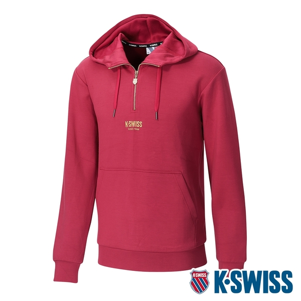 K-SWISS Semi Zip Open Hoodie連帽上衣-男-櫻桃紅