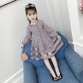 女童裙子韓版潮衣碎花長袖女洋氣兒童洋裝 沸點奇跡