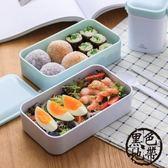科羅恩日式便當盒 時尚雙層塑料密封飯盒 可微波加熱 學生午餐盒【黑色地帶】