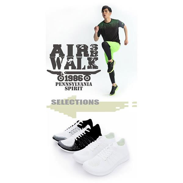 美國AIRWALK- 城市運動系列 暢銷款 輕量 編織 慢跑鞋- 男黑白