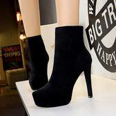 騎士靴 超高跟防水臺絨面顯瘦性感短靴《小師妹》sm609