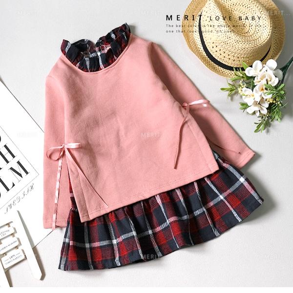 中大童 純棉 韓版拼接格紋側邊綁帶假兩件長版上衣 女大童洋裝 有內裡 袖子內刷毛 紅色