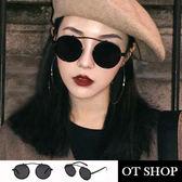 OT SHOP太陽眼鏡‧潮流帥氣獨特個性風格款裝飾不規則鏡架圓形鏡框太陽眼鏡‧黑色‧現貨W21