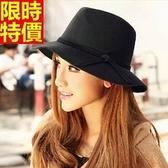 小禮帽-毛呢蝴蝶結韓版時尚優雅女爵士帽3色67e2[巴黎精品]