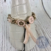 BRAND楓月 CHANEL 香奈兒 淡粉色 絨布緞帶 手鍊 飾品 精品配件