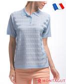 法國製造短袖POLO衫 夢特嬌亮絲系列女款氣質方格紋-水藍
