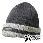 PolarStar 反摺橫條羊毛保暖帽 P13605『暗灰』