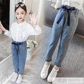 女童牛仔褲2020新款夏裝寬鬆褲子兒童裝春秋10小女孩休閒長褲12歲  中秋特惠