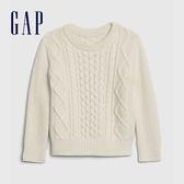 Gap男幼童 時尚絞花織紋圓領針織衫 593520-米色
