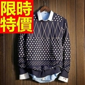 長袖毛衣-美麗諾羊毛韓版防寒套頭男針織衫63t3【巴黎精品】