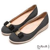 DIANA 超軟Q--甜漾繽紛質感點點蝴蝶結輕量楔型鞋-黑★特價商品恕不能換貨★
