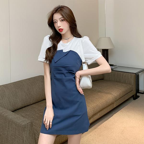 VK旗艦店 韓系修身假兩件撞色泡泡袖優雅包臀短袖洋裝