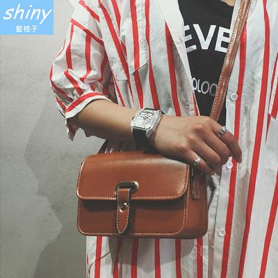 【P171】shiny藍格子-簡約單品.復古單肩斜挎小方包