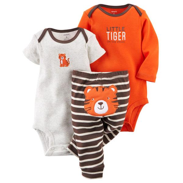 【美國Carter's】純棉套裝3件組- 可愛小老虎短袖包屁衣+長袖包屁衣+條紋長褲  121D623