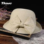 遮陽帽 時尚卷邊短簷遮陽帽女士夏天蝴蝶結出遊清新韓版防曬草帽女 3色