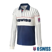 K-SWISS Heritage Rugby Shirt長袖POLO上衣-男-白