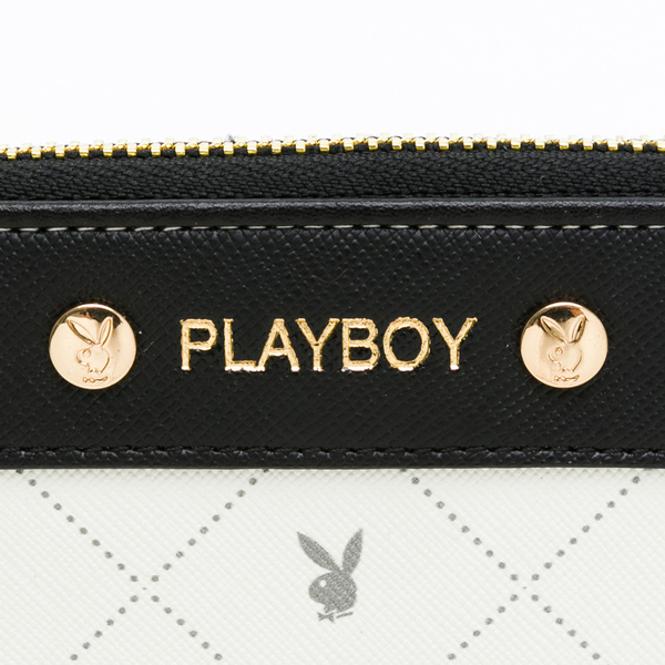 PLAYBOY - L拉長夾 白色黑晶兔系列 - 米白色