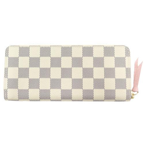 Louis Vuitton LV N61264 Clemence 白棋盤格紋拉鍊長夾 全新 現貨【茱麗葉精品】
