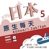 【日本旅遊】 5日3GB流量 上網 softbank網路卡 每日600MB流量 4G飆網 旅行上網/日本網卡/日本旅遊