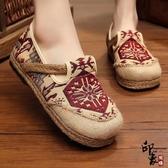 圓頭棉麻民族風女鞋一腳蹬亞麻鞋透氣時尚懶人平底單鞋