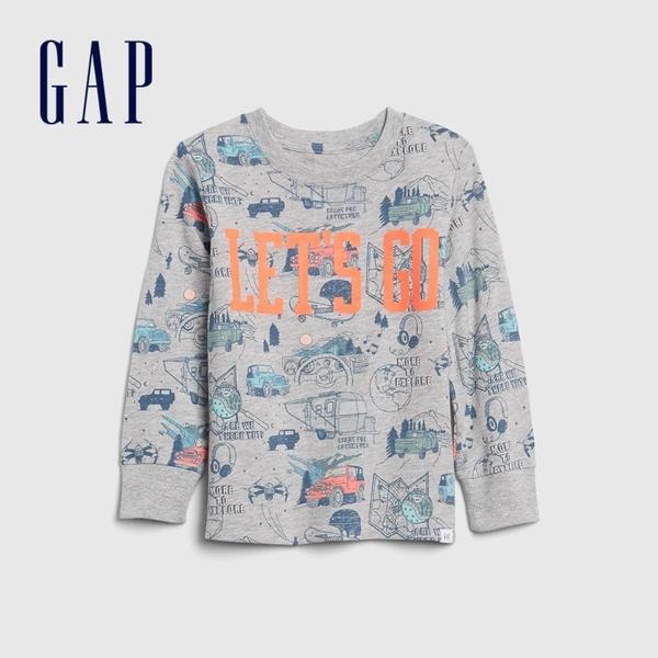 Gap男幼童 創意風格印花圓領長袖T恤 617814-汽車印花
