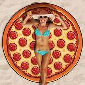 新款沙灘巾圓形地墊漢堡包披薩沙灘墊瑜伽墊海邊度假裹裙披肩