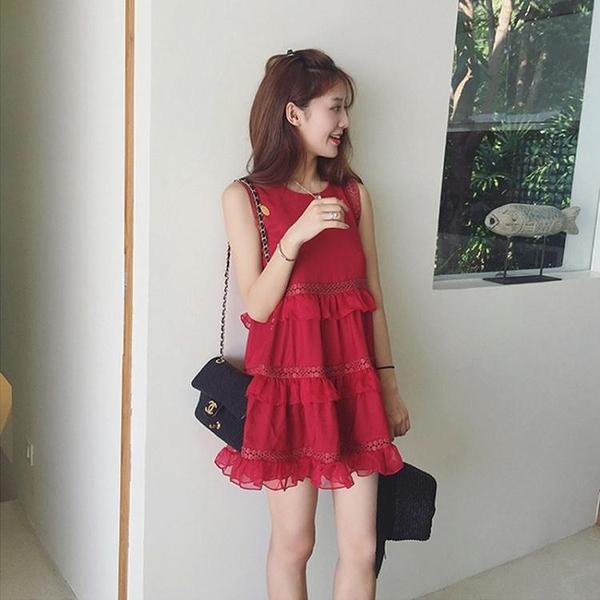 現貨洋裝度假沙灘裙 夏季顯瘦中長款小心機裙子(庫存清倉)31887紅粉佳人