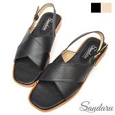 涼鞋 簡約交叉側釦平底鞋-黑色下單區