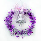 聖誕-摩達客-銀紫系金蔥聖誕星星花圈(14吋)