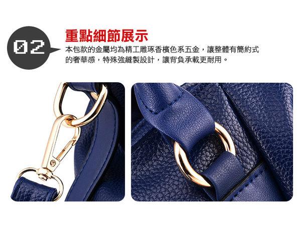 DF Queenin日韓 - 韓版仿皮款手提斜背2way包-共2色