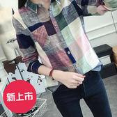 清新文藝風棉麻薄款格子長袖襯衫(2款可選)