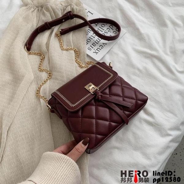 復古小包包女春季新款復古時尚菱格鏈條包大氣質感單肩包品牌【邦邦】