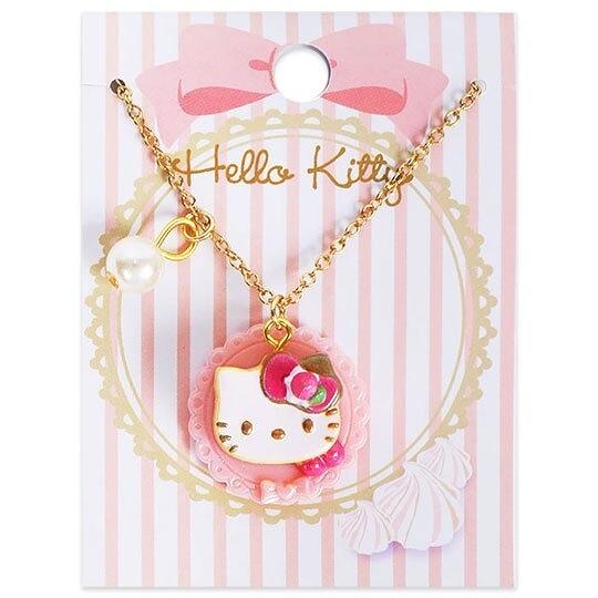 〔小禮堂〕Hello Kitty 甜點造型珍珠短鍊兒童項鍊《粉金.鬆餅》頸鍊.鍊墜.金鍊 4901610-33803