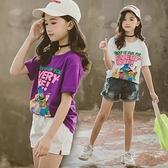 童裝女童短袖T2021新款夏季兒童純棉卡通t恤打底衫中大童上衣體恤 幸福第一站