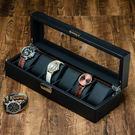 碳纖維皮質6格手錶盒子 手鏈首飾機械錶收納整理盒 珠寶帶鎖展示【快速出貨】