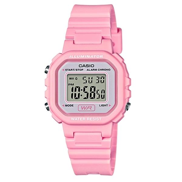 CASIO 小巧方形復古電子錶-粉(LA-20WH-4A1)