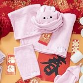 舒柔纖維方巾-慵懶白熊-生活工場