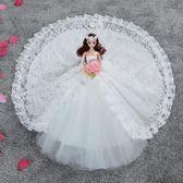 新款夢幻芭比娃娃套裝超大90公分拖尾婚紗公主洋娃娃女孩玩具單個 WY【全館89折低價促銷】