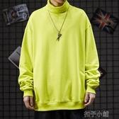 秋冬BF高街朋克極簡風寬鬆套頭嘻哈長袖純色高領連帽T恤男 扣子小鋪
